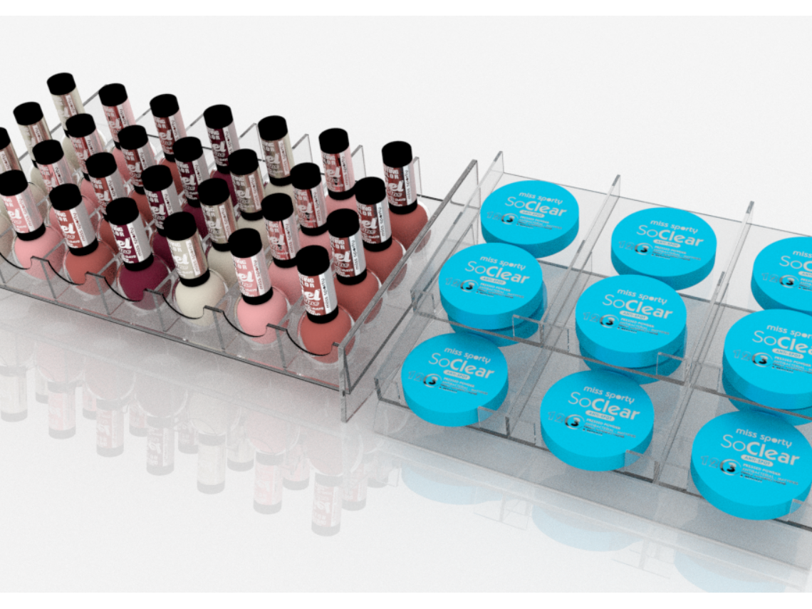 Displays (cartridges, modules) for cosmetic cabinets
