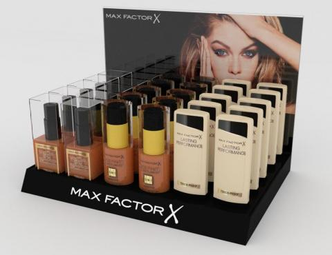 A display for Max Factor cosmetics